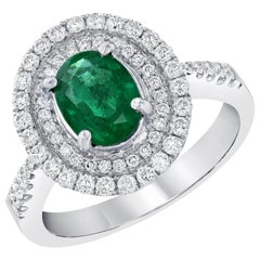 Double Halo 1.00 Carat Emerald and Diamond 18 Karat White Gold Engagement Ring