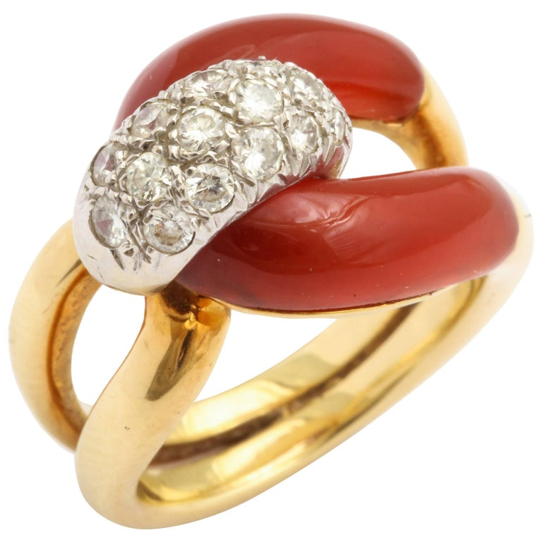 Diamond, Carnelian and Gold Ring