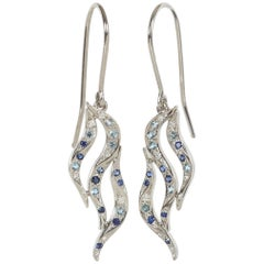 Greg Holland Round Diamond Aquamarine Sapphire Platinum Dangle Earring