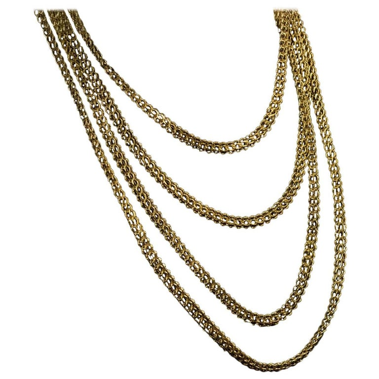 Antique Russian Imperial Era Braided Gold Necklace 91 Grams