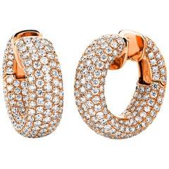 Carlos Udozzo 18 Karat Rose Gold Ladies Huggies Diamond Earrings
