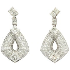 18 Karat White Gold and Diamond Hanging Earrings
