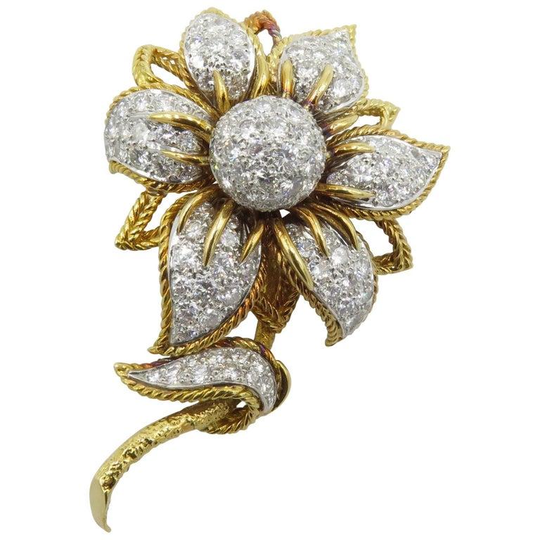 Platinum, Gold and Diamond Flower Brooch