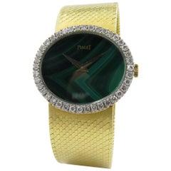 Piaget Yellow Gold Diamond Malachite Mechanical Wristwatch, circa 1970