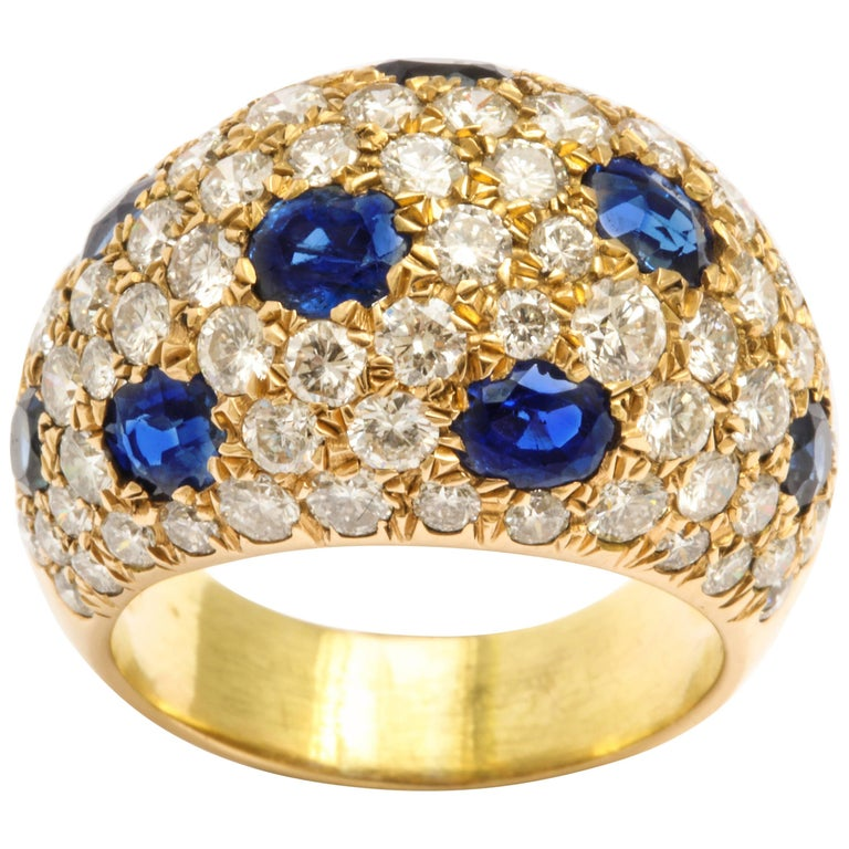 18 Karat Gold French Dome Ring with Sapphires and Diamonds For Sale