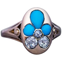 Antique Victorian Turquoise Diamond Gold Forget Me Not Ring