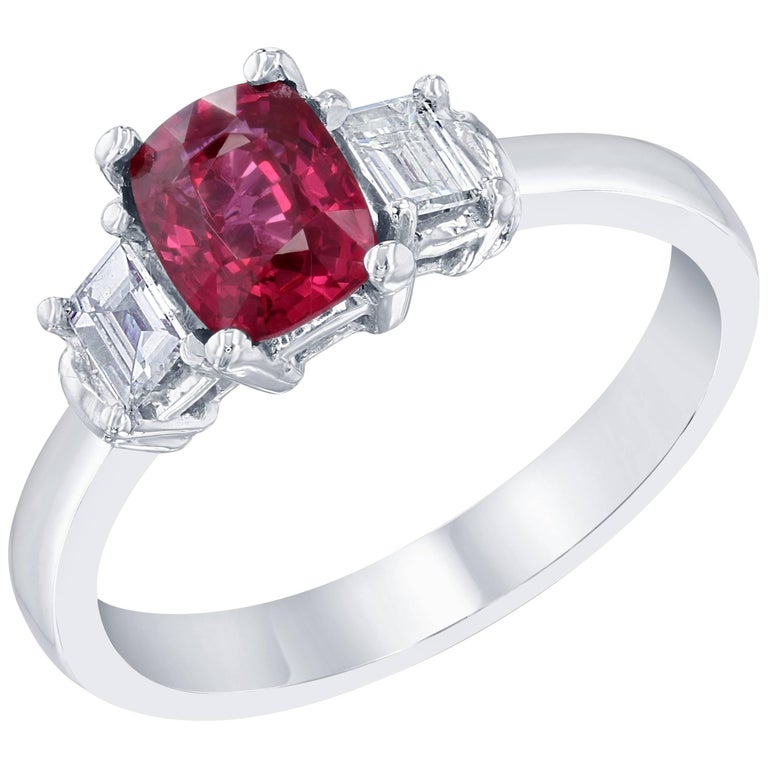 1.29 Carat Spinel Diamond Three-Stone Ring