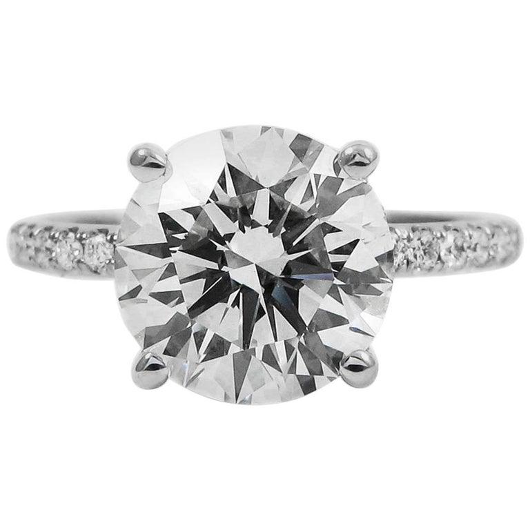 GIA Certified 3.52 Carat Round Brilliant Diamond Platinum Pave Engagement Ring