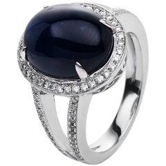 Carlos Udozzo 18 Karat Gold Men Blue Sapphire Diamond Cocktail / Statement Ring