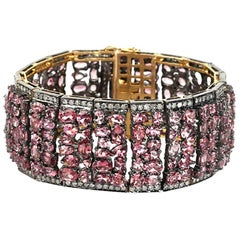 Pretty Pink Tourmaline Bracelet with Diamonds
