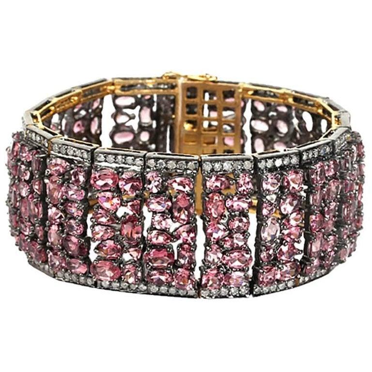 Pretty Pink Tourmaline Bracelet with Diamonds