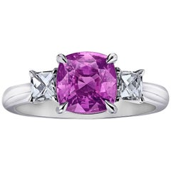 3.08 Carat Pink Cushion Cut Sapphire Diamond Engagement Ring