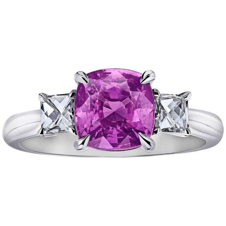 3 08 Carat Pink Cushion Cut Sapphire Diamond Engagement Ring For Sale at 1stdibs