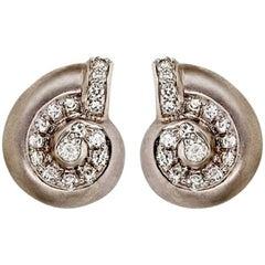 Diamond Platinum Nautilus Shell Earrings by John Landrum Bryant