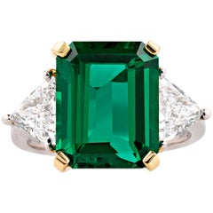 Untreated 6.02 Carat Emerald Diamond Ring