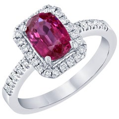2.13 Carat Spinel Diamond White Gold Engagement Ring