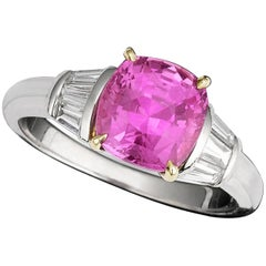 Untreated 2.79 Carat Pink Sapphire Diamond Ring
