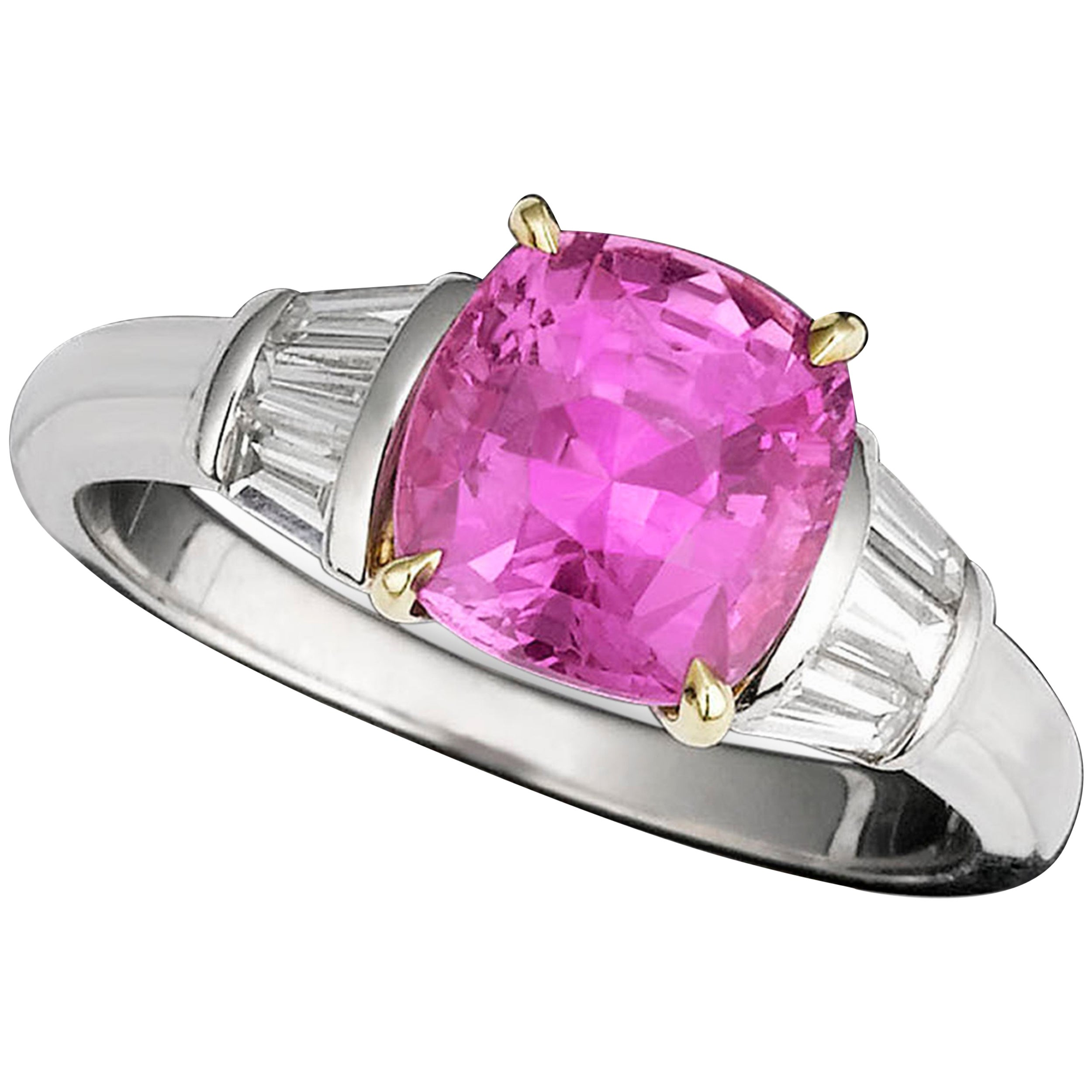 Untreated Blue and Pink Sapphire Diamond Gold Ring For Sale at 1stdibs