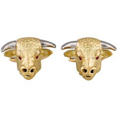 Bull's Head Gold Cufflinks