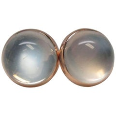 Art Deco Gold Moonstone Button Earrings
