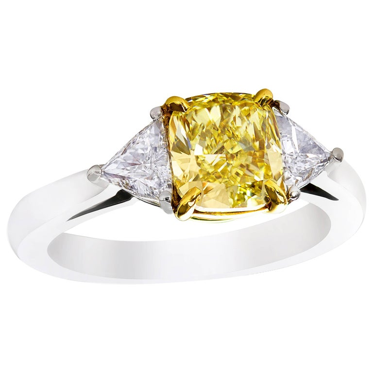 GIA Certified Fancy Intense Yellow Cushion Diamond Three-Stone Engagement Ring