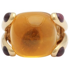 1980s Verdura Cabochon Citrine and Pink Tourmaline Gold Candy Ring