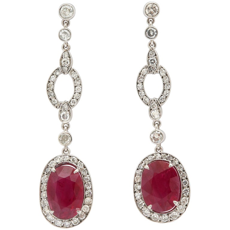 1950s Scissor Cut Ruby and Diamond Platinum Drop Earrings with Posts