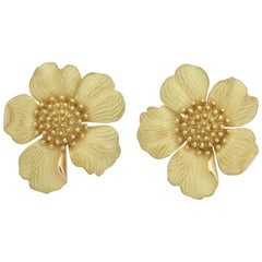 1980s Tiffany & Co. Large Figural Cherry Blossom Flower Matte Gold Earrings