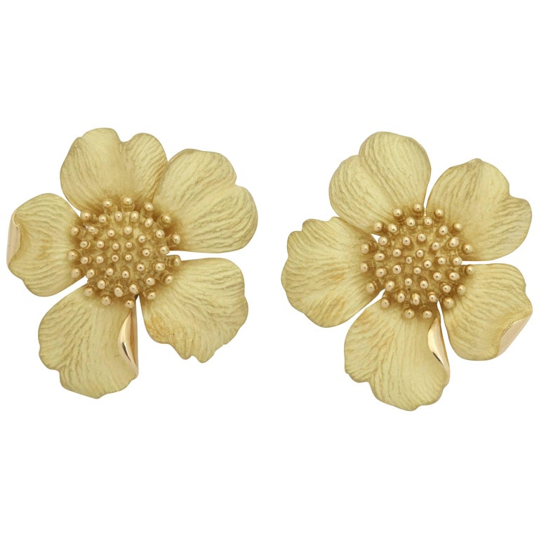 1980s Tiffany & Co. Large Figural Cherry Blossom Flower Matte Gold Earrings For Sale