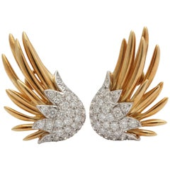 Schlumberger for Tiffany & Co. Diamond and Gold and Platinum Flame Wing Earrings