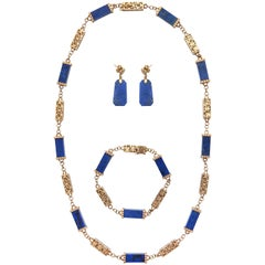 1950s Three Dimensional Cylinder Shape Lapis Lazuli and Reticulated Gold Chain