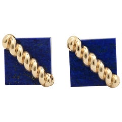 1970s Tiffany & Co. Lapis Lazuli and Ridged Textured Gold Cufflinks