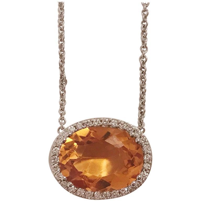 Deep Citrine Pendant Necklace with Surrounding Diamonds