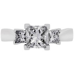 GIA Certified 1.51 Carat Princess Cut Diamond Engagement Ring