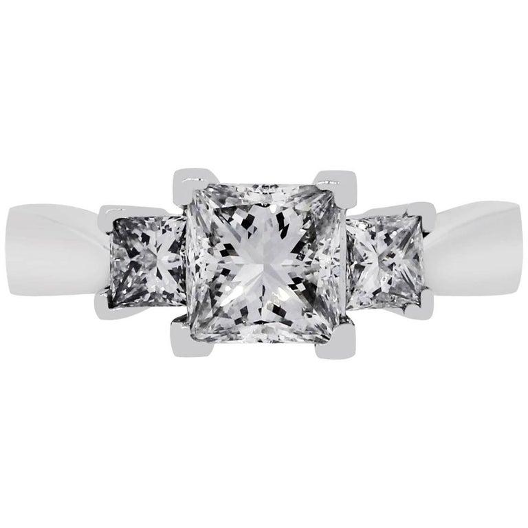 GIA Certified 1.51 Carat Princess Cut Diamond Engagement Ring