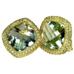 Alex Soldier Green Amethyst Peridot Yellow Gold One of a Kind Earrings