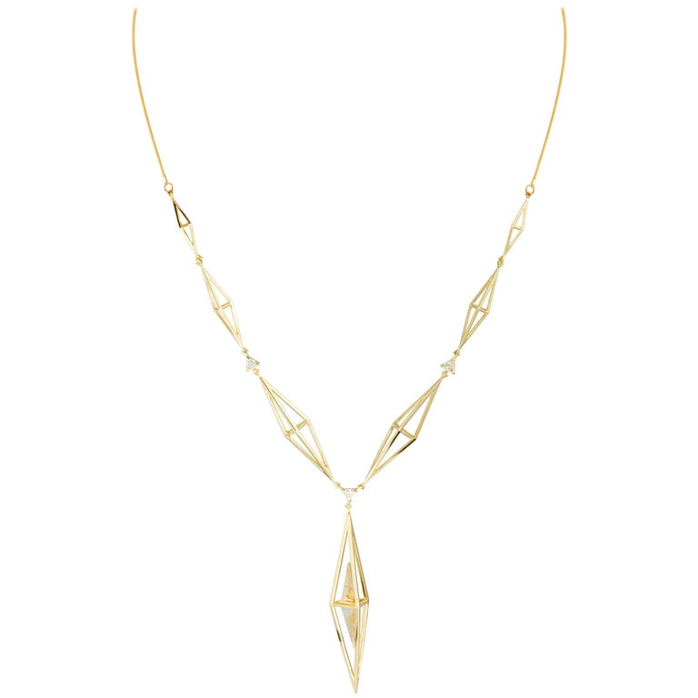Tetrahedron Necklace 18K Yellow Gold  &  Rutilated Quartz and Diamonds by Kattri