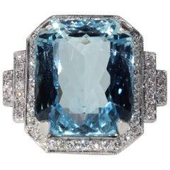 26 Carat Aquamarine Diamond Cocktail Ring