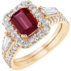GIA Certified 2.34 Carat Ruby Diamond Cocktail Ring