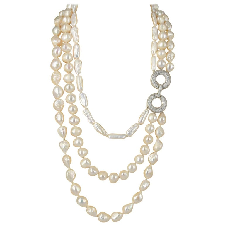 Decadent Jewels Fresh Water Pearl Multi Strand Necklace For Sale