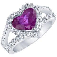 GIA Certified 3.61 Carat Heart Cut Ruby Diamond Ring