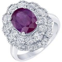 GIA Certified 3.73 Carat Ruby Diamond Cocktail Ring