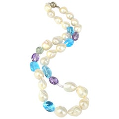 Decadent Jewels Blue Topaz Amethyst and Fresh Water Pearl Silver Necklace