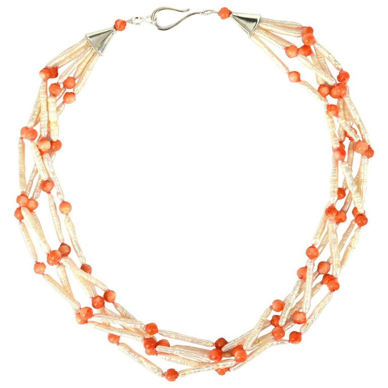 Decadent Jewels Fresh Water Pearl Carved Coral Silver Torsade Necklace