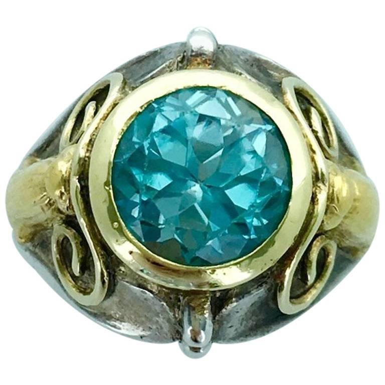 Antique Yellow Gold Silver Blue Zircon Ring