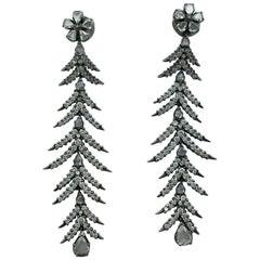 Contemporary Diamond and Rose-Cut Diamond on Black Gold Earrings