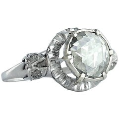 Antique Rose Cut Diamond Platinum and White Gold Ring