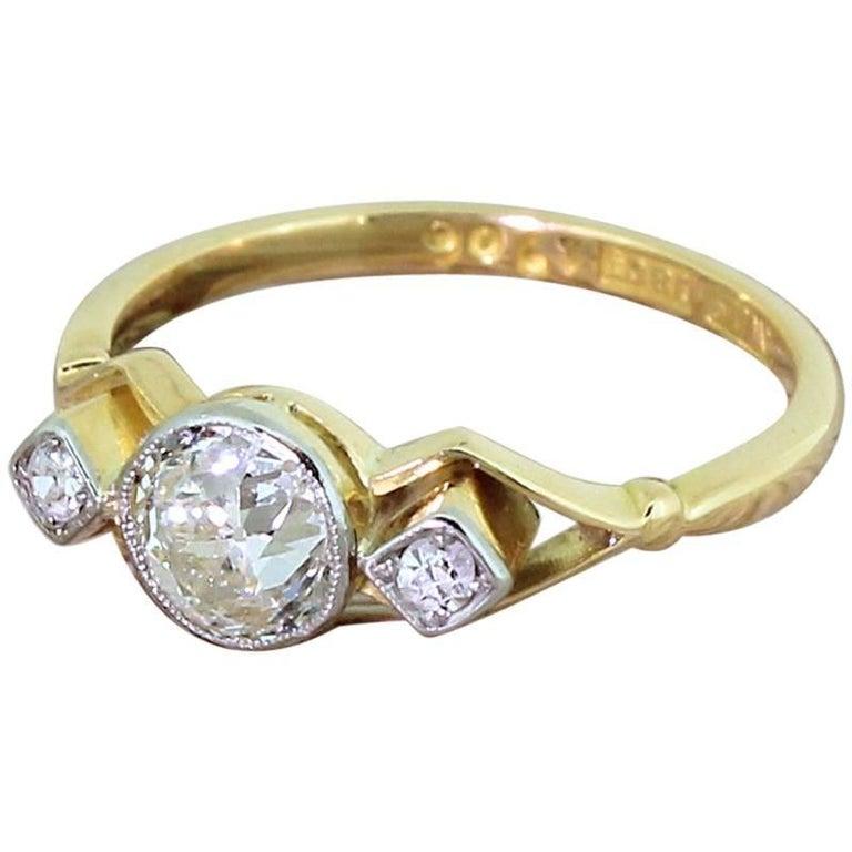 Retro Aquamarine Citrine Ring
