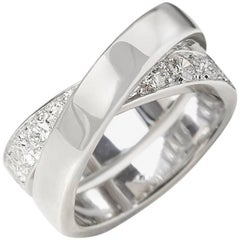 Cartier Diamond 18 Karat White Gold Diamond Crossover Paris Nouvelle Vague Ring