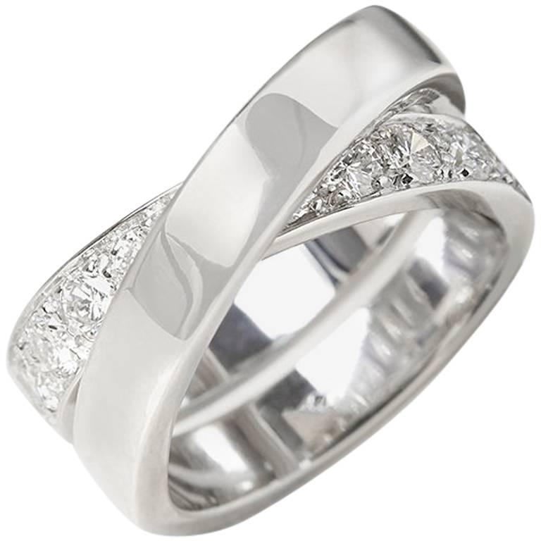 Cartier Diamond 18 Karat White Gold Diamond Crossover Paris Nouvelle Vague Ring